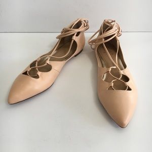 Banana Republic Allie Nude Lace Up Ballet Flats